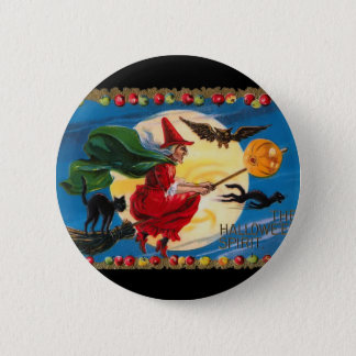 Vintage Halloween Spirit Witch Button