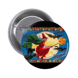 Vintage Halloween Spirit Witch Button