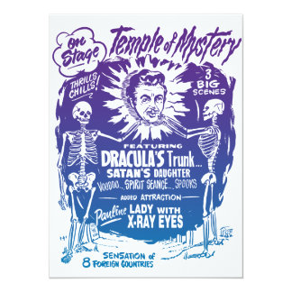 Vintage Halloween Spook Show Temple of Mystery 5.5x7.5 Paper Invitation Card