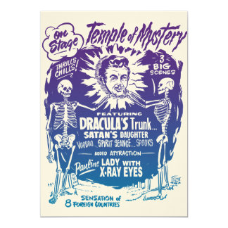 Vintage Halloween Spook Show Temple of Mystery 5x7 Paper Invitation Card