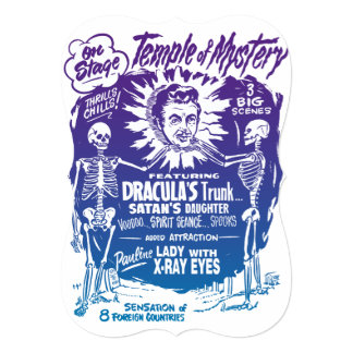 Vintage Halloween Spook Show Temple of Mystery Card