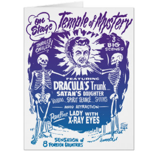 Vintage Halloween Spook Show Temple of Mystery Large Greeting Card