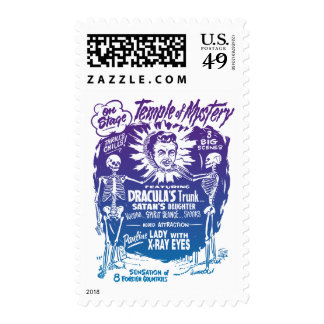 Vintage Halloween Spook Show Temple of Mystery Postage Stamps