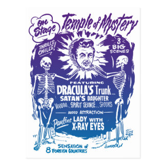 Vintage Halloween Spook Show Temple of Mystery Postcard
