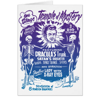 Vintage Halloween Spook Show Temple of Mystery Stationery Note Card