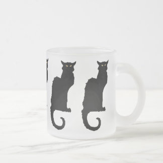 Vintage Halloween, Spooky Art Nouveau Black Cat 10 Oz Frosted Glass Coffee Mug