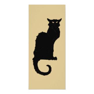 Vintage Halloween, Spooky Art Nouveau Black Cat 4x9.25 Paper Invitation Card