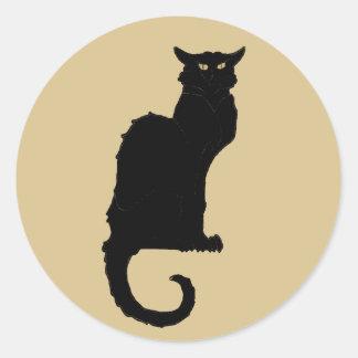 Vintage Halloween, Spooky Art Nouveau Black Cat Classic Round Sticker