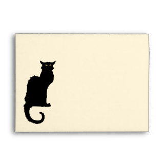 Vintage Halloween, Spooky Art Nouveau Black Cat Envelope