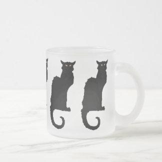 Vintage Halloween, Spooky Art Nouveau Black Cat Frosted Glass Coffee Mug