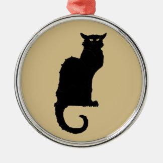 Vintage Halloween, Spooky Art Nouveau Black Cat Metal Ornament