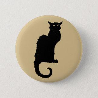 Vintage Halloween, Spooky Art Nouveau Black Cat Pinback Button