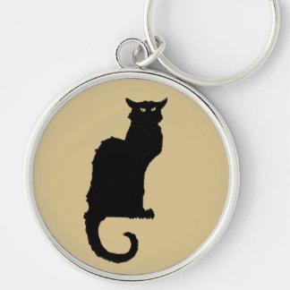 Vintage Halloween, Spooky Art Nouveau Black Cat Silver-Colored Round Keychain