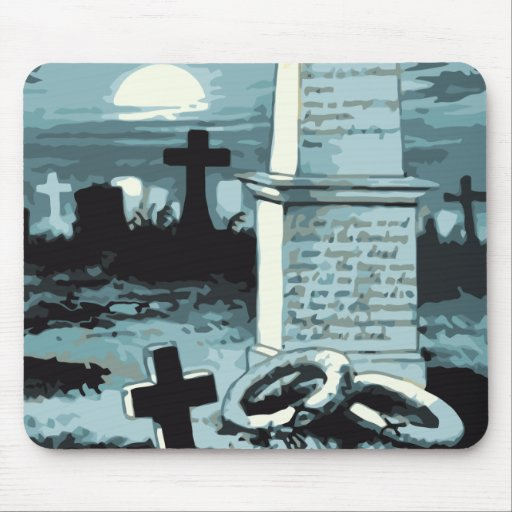 Vintage Halloween Spooky Cemetery Night Blue Moon Mouse Pad