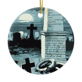 Vintage Halloween Spooky Cemetery Night Blue Moon Ornaments