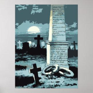 Vintage Halloween Spooky Cemetery Night Blue Moon Print