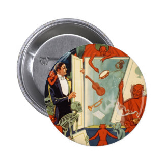 Vintage Halloween, Spooky Magic Act with Magician 2 Inch Round Button