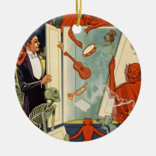 Vintage Halloween, Spooky Magic Act with Magician Ceramic Ornament