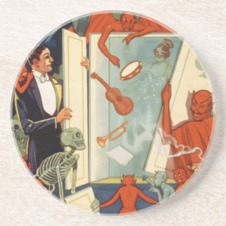 Vintage Halloween, Spooky Magic Act with Magician Drink Coaster