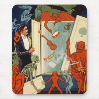 Vintage Halloween, Spooky Magic Act with Magician Mouse Pad