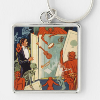 Vintage Halloween, Spooky Magic Act with Magician Silver-Colored Square Keychain