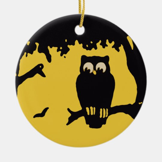 Vintage Halloween, Spooky Owl in Tree with Moon Ceramic Ornament