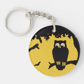 Vintage Halloween, Spooky Owl in Tree with Moon Double-Sided Round Acrylic Keychain