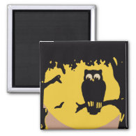 Vintage Halloween, Spooky Owl in Tree with Moon 2 Inch Square Magnet