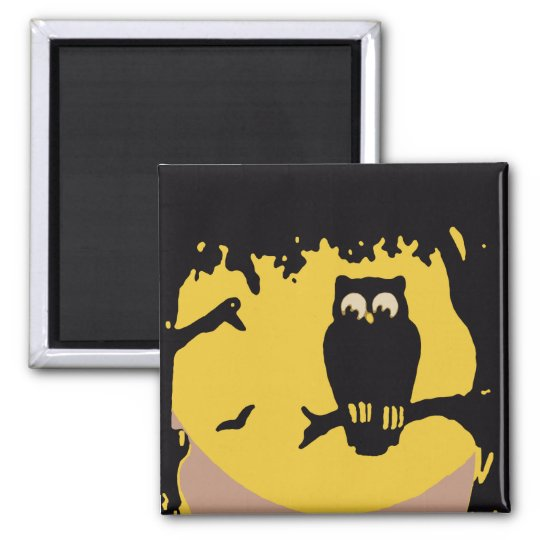 Vintage Halloween, Spooky Owl in Tree with Moon Magnet