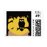 Vintage Halloween, Spooky Owl in Tree with Moon Postage Stamp