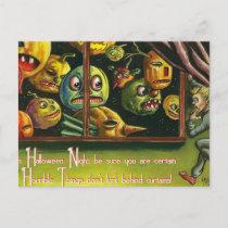 Vintage Halloween spooky pumpkins postcard
