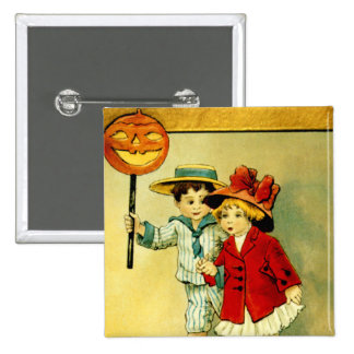 Vintage Halloween Square Button