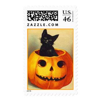 Vintage Halloween Stamp Stamps Carved Pumpkin cat
