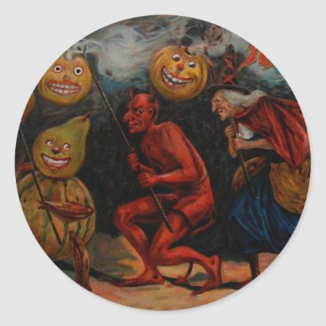 Halloween Themed VINTAGE HALLOWEEN STICKER, Raphael Tuck 1909 Classic Round Sticker