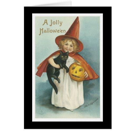 Vintage Halloween Tarjeta De Felicitación
