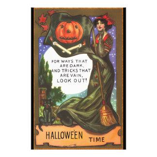 Vintage Halloween Time Dark Witch Greeting Photo Print