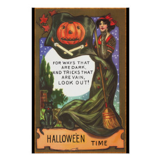 Vintage Halloween Time Dark Witch Greeting Poster