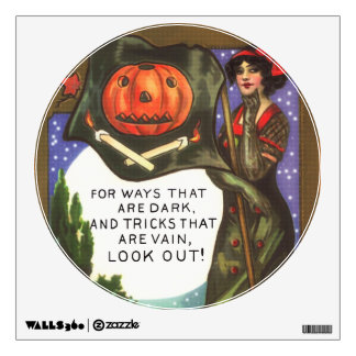 Vintage Halloween Time Dark Witch Greeting Wall Decal