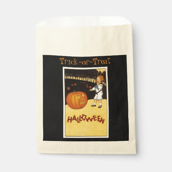Vintage Halloween Trick-or-Treat Bags with Pumpkin