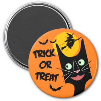 Vintage Halloween - Trick or Treat Black Cat 3 Inch Round Magnet