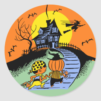 Vintage Halloween Trick Or Treat Kids Sticker