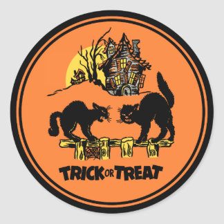 Vintage Halloween Trick Or Treat Sticker
