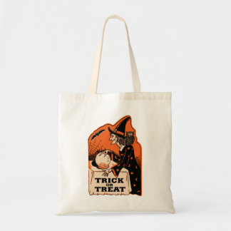 Vintage Halloween Trick or Treat Witch Tote Bag
