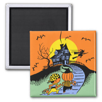 Vintage Halloween - Trick or Treaters 2 Inch Square Magnet