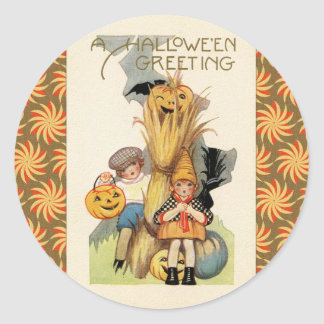 Vintage Halloween Trick or Treaters Classic Round Sticker