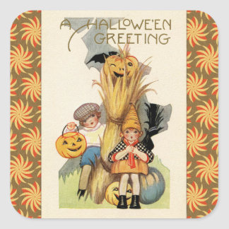 Vintage Halloween Trick or Treaters Square Sticker