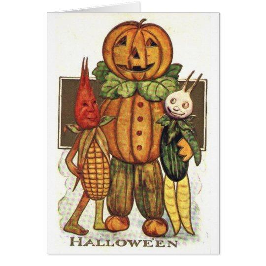 Vintage Halloween Veggies Card