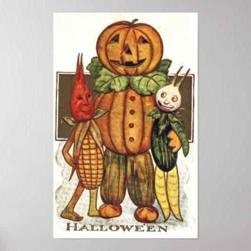 Vintage Halloween Veggies Posters
