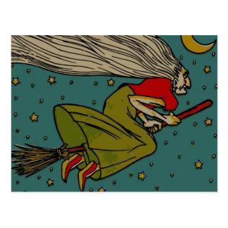 Vintage Halloween, vuelo malvado de la bruja en el Postal