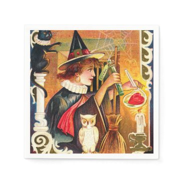 Halloween Themed Vintage Halloween wicth owl cat party paper napkin